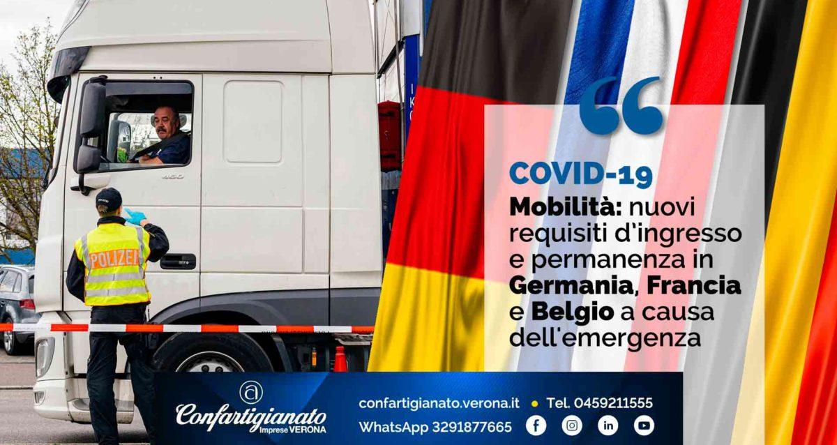 COVID-19 – Mobilità e Trasporti: nuovi requisiti di ingresso e permanenza in Germania, Francia e Belgio a causa dell'emergenza