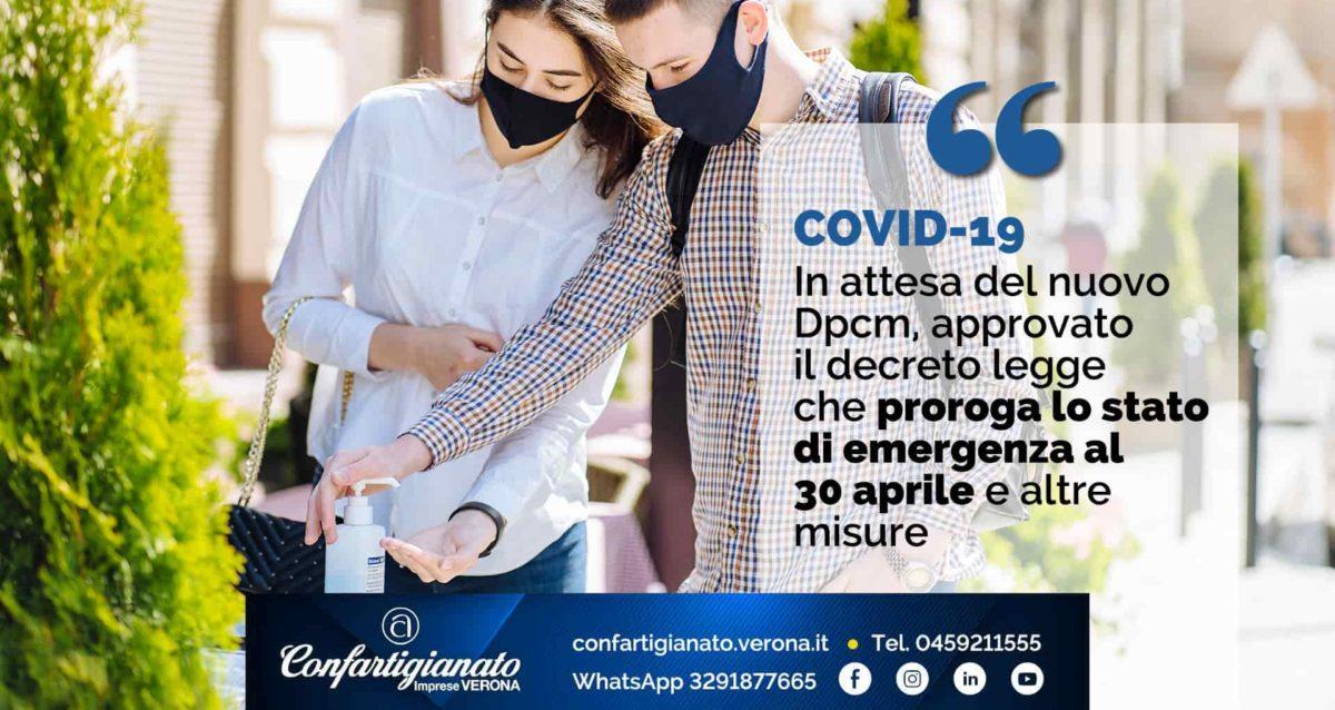 COVID-19 – In attesa del nuovo Dpcm, approvato decreto legge che proroga stato emergenza al 30 aprile e altre misure