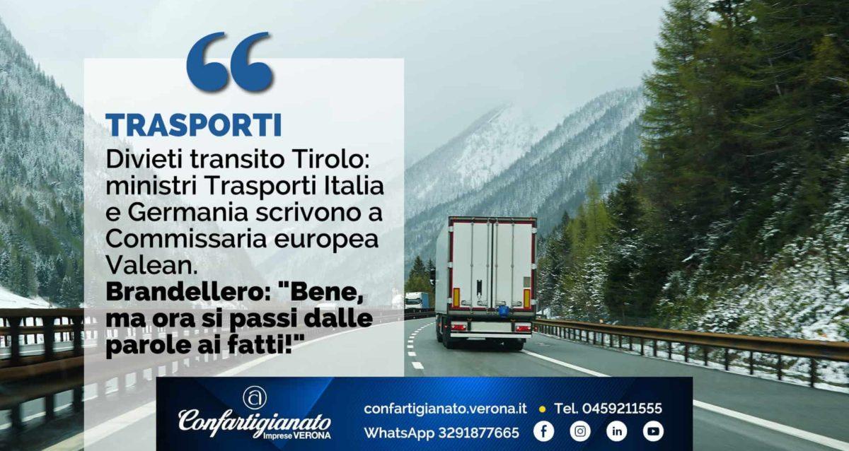 """TRASPORTI – Divieti transito Tirolo: ministri Trasporti italiano e tedesco scrivono a Commissaria Valean. Brandellero: """"Bene, ma ora si passi dalle parole ai fatti"""""""