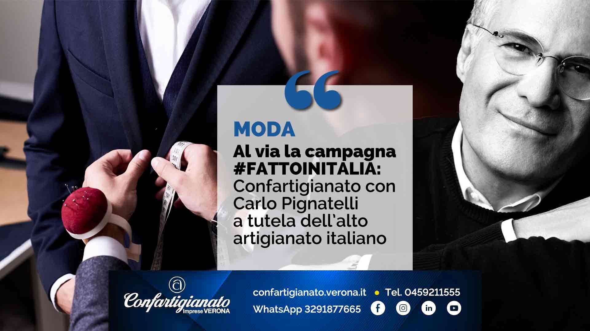 MODA – Al via la campagna #FATTOINITALIA: Confartigianato con Carlo Pignatelli a tutela dell'alto artigianato italiano