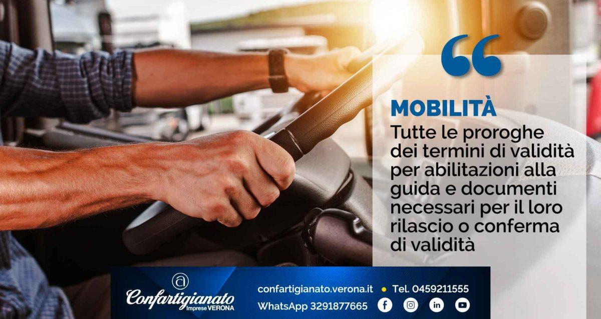 MOBILITA' – Tutte le proroghe dei termini di validità per abilitazioni alla guida e documenti necessari per il loro rilascio o conferma di validità