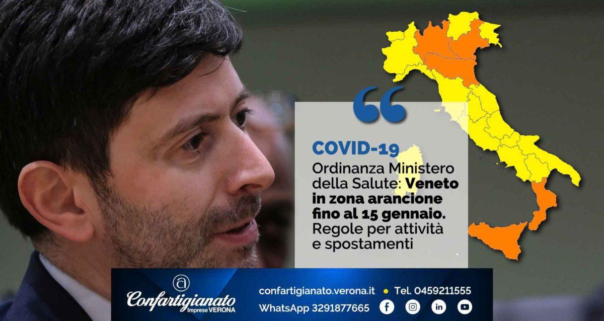 COVID-19 – Ordinanza Ministero della Salute: Veneto in zona arancione fino al 15 gennaio. Regole per attività e spostamenti