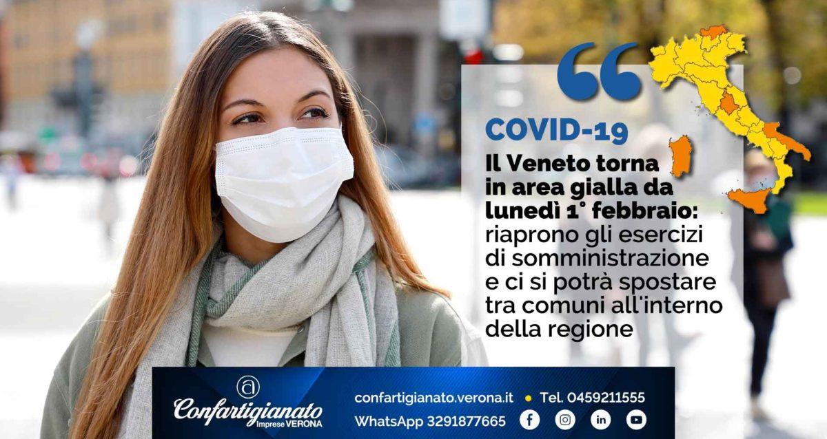 COVID-19 – Il Veneto torna in area gialla da lunedì 1° febbraio: riaprono gli esercizi di somministrazione e ci si potrà spostare tra comuni all'interno della regione