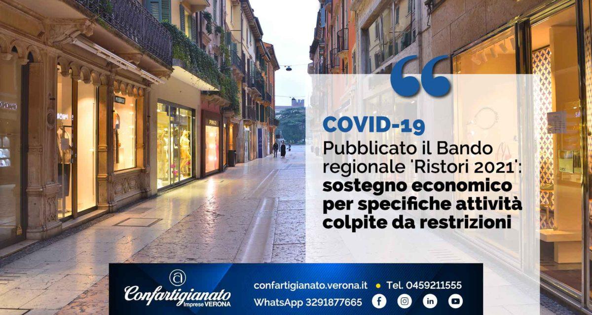 COVID-19 – Bando regionale 'Ristori 2021': sostegno economico per specifiche attività colpite da restrizioni