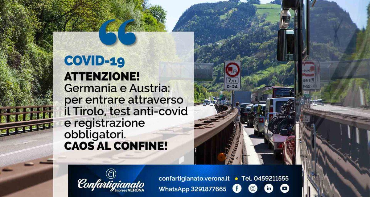 COVID-19 – ATTENZIONE - Germania: per entrare attraverso il Tirolo, test e registrazione obbligatori. Caos al confine