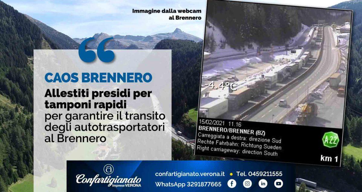 CAOS BRENNERO – Allestiti presidi per tamponi rapidi antigenici per garantire il transito degli autotrasportatori al Brennero