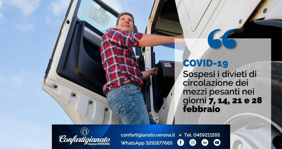 COVID-19 – Sospesi i divieti di circolazione dei mezzi pesanti nei giorni 7, 14, 21 e 28 febbraio