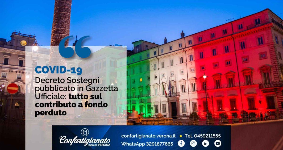 COVID-19 – Decreto Sostegni pubblicato in Gazzetta Ufficiale: tutto sul contributo a fondo perduto
