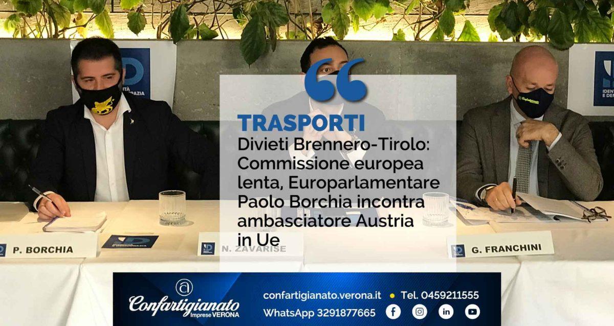 TRASPORTI – Divieti Brennero-Tirolo: Commissione europea lenta, Europarlamentare Borchia incontra ambasciatore Austria in Ue