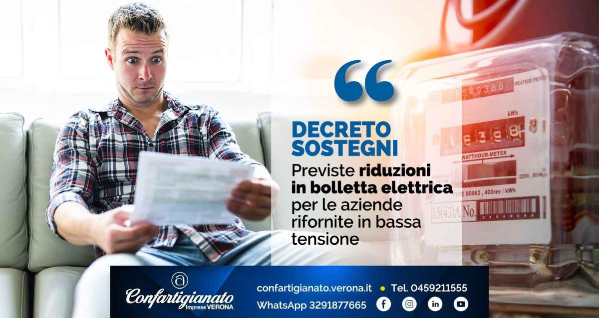 DECRETO SOSTEGNI – Riduzioni in bolletta elettrica per le aziende rifornite in bassa tensione