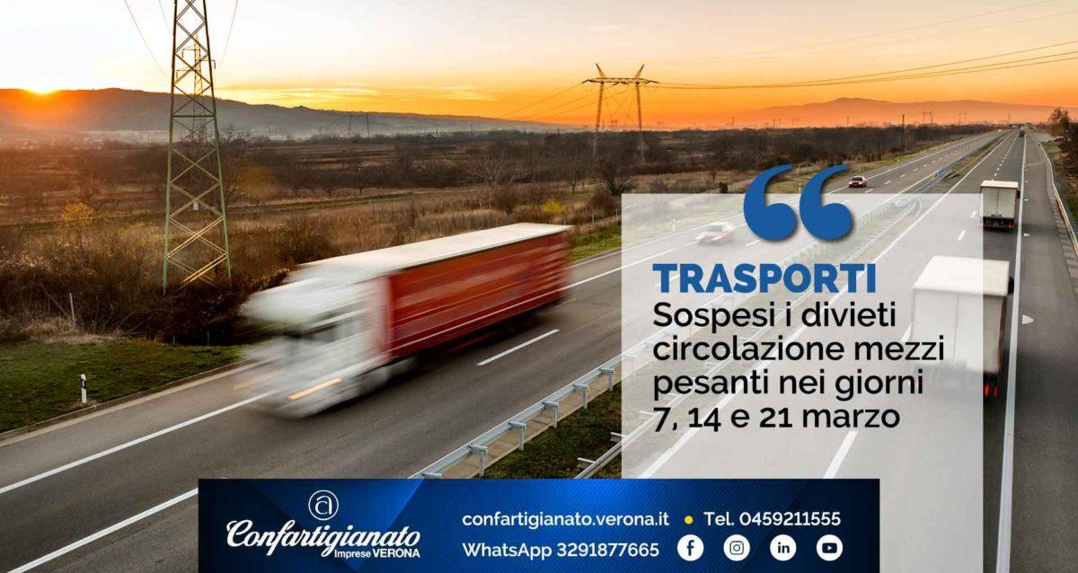 TRASPORTI – Sospesi divieti circolazione mezzi pesanti nei giorni 7, 14 e 21 marzo