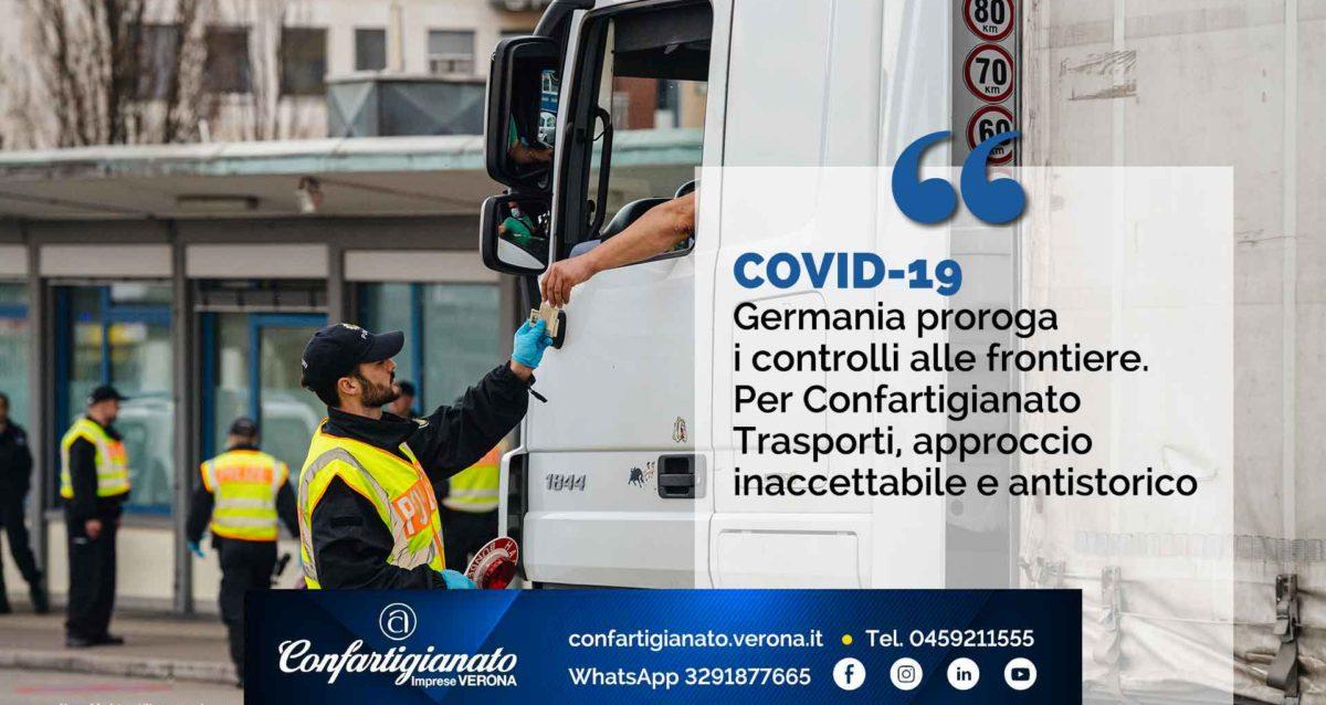 COVID-19 – Germania proroga i controlli alle frontiere. Per Confartigianato Trasporti, approccio inaccettabile e antistorico