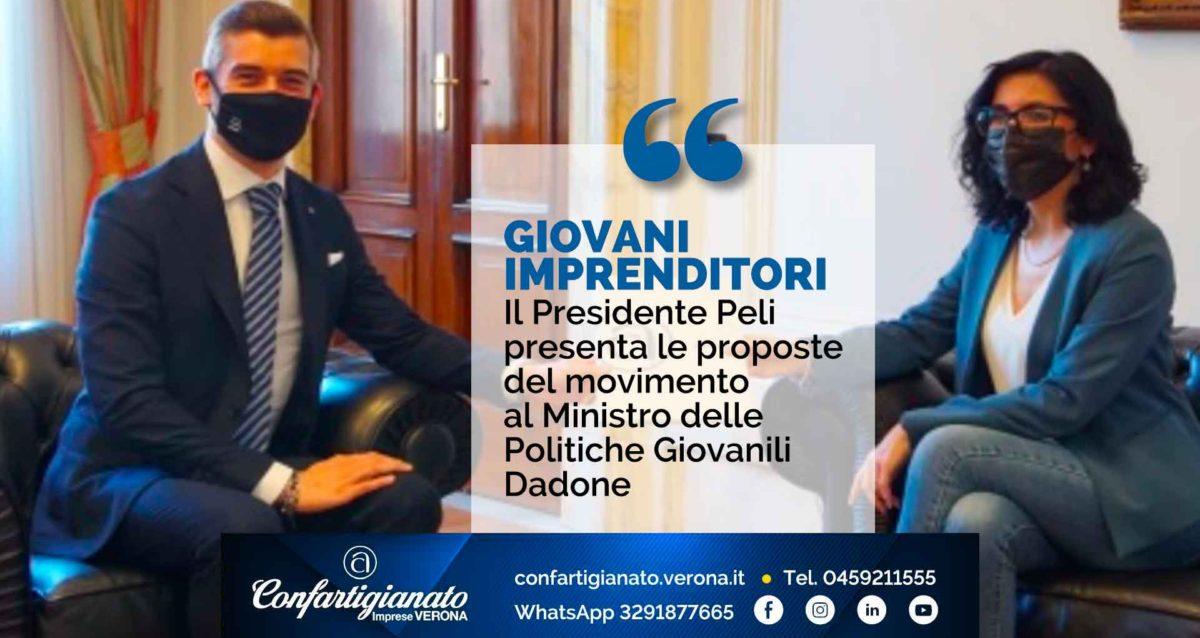 GIOVANI IMPRENDITORI – Il Presidente Peli presenta al Ministro per le Politiche Giovanili Dadone le proposte del Movimento