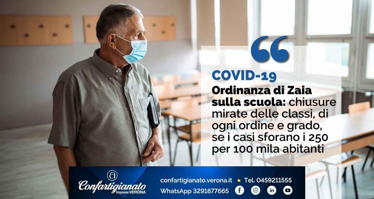 COVID-19 – Ordinanza di Zaia sulla scuola: chiusure mirate delle classi, di ogni ordine e grado, se i casi sforano i 250 per 100 mila abitanti