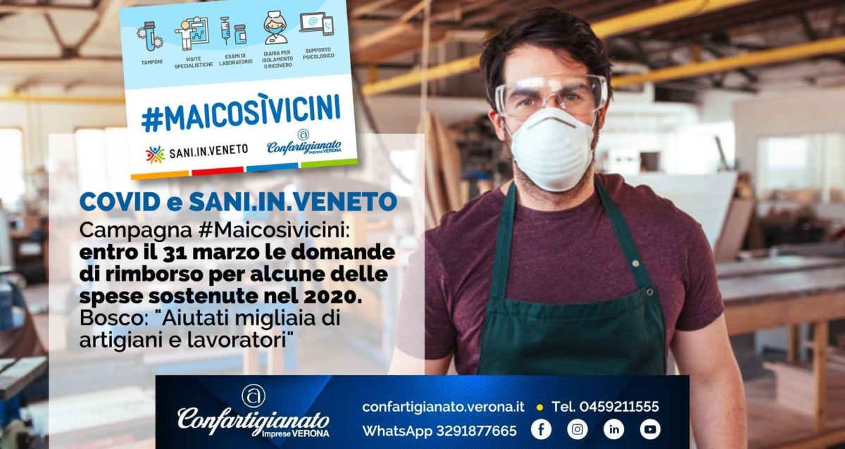 """COVID e SANI.IN.VENETO – #Maicosìvicini: entro il 31 marzo le domande di rimborso per alcune spese 2020. Bosco: """"Aiutati migliaia di artigiani e lavoratori"""""""
