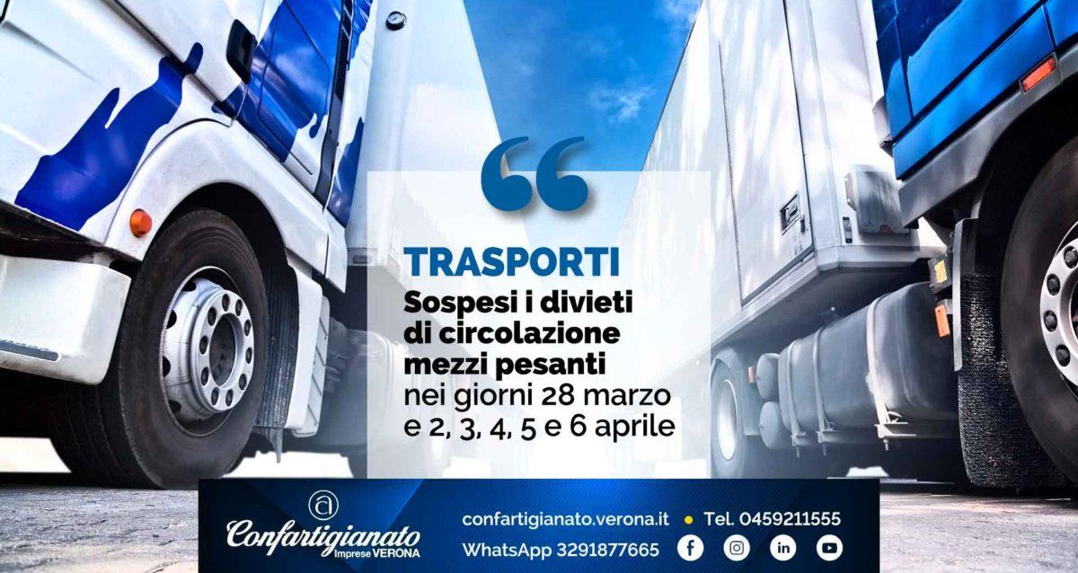 TRASPORTI – Sospesi i divieti di circolazione mezzi pesanti nei giorni 28 marzo e 2, 3, 4, 5 e 6 aprile