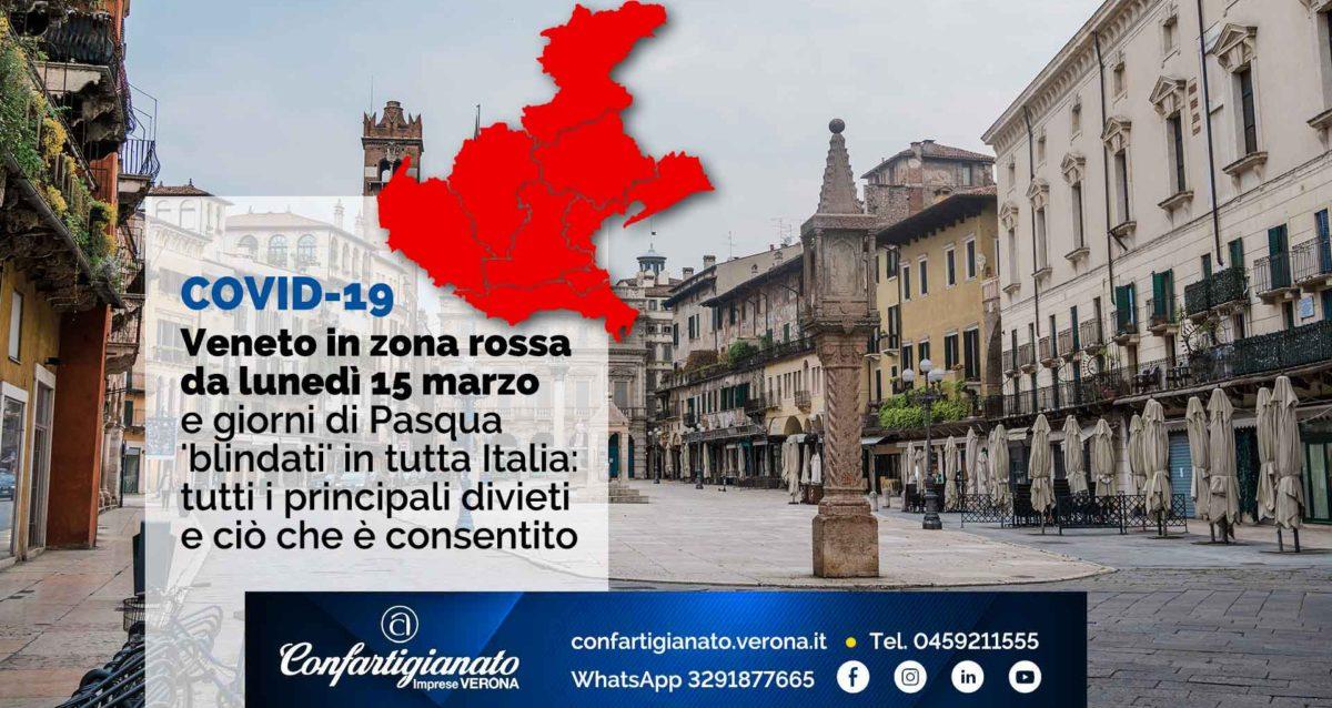 COVID-19 – Veneto in 'zona rossa' da lunedì 15 marzo e giorni di Pasqua 'blindati' in tutta Italia: tutti i principali divieti e ciò che è consentito