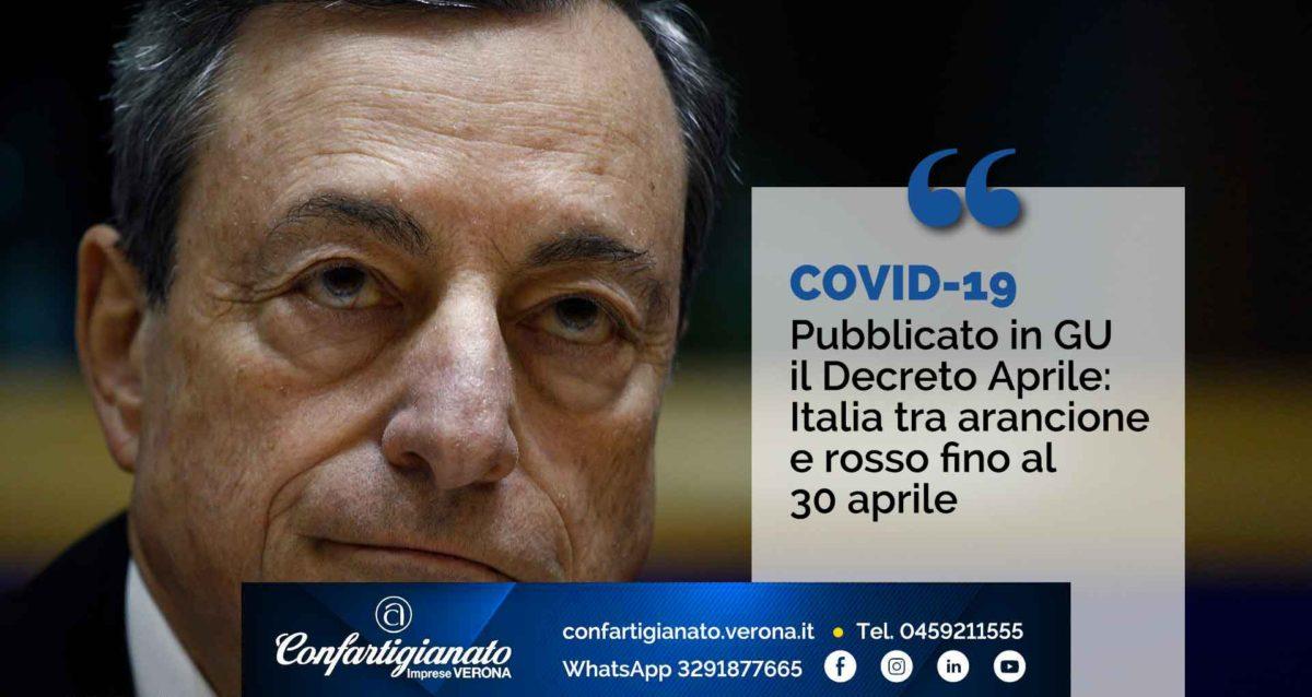 COVID-19 – Pubblicato il Decreto Aprile: Italia tra arancione e rosso fino al 30 aprile