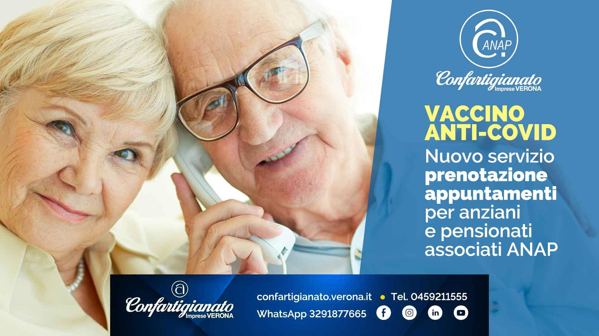 ANAP – Vaccini anti-Covid: nuovo servizio prenotazione appuntamenti per anziani e pensionati associati ANAP