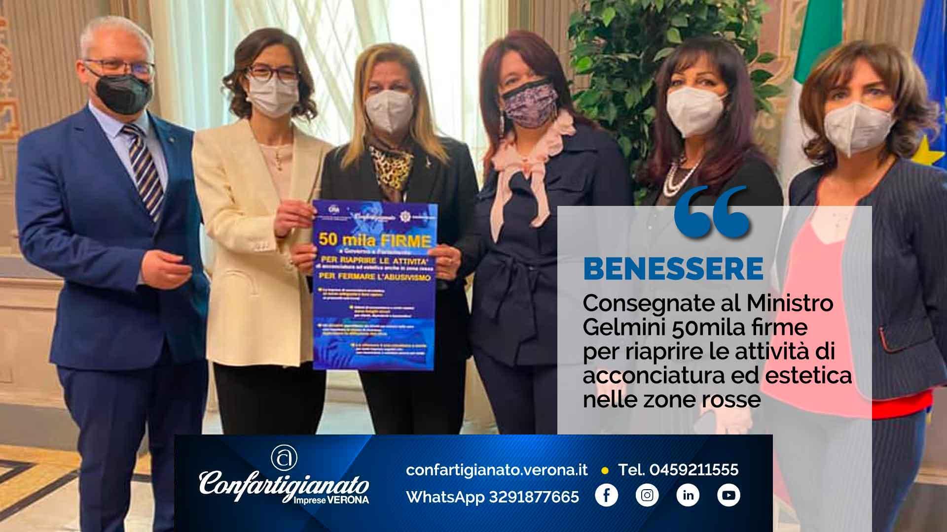 BENESSERE – Consegnate al Ministro Gelmini 50mila firme per riaprire le attività di acconciatura ed estetica nelle zone rosse