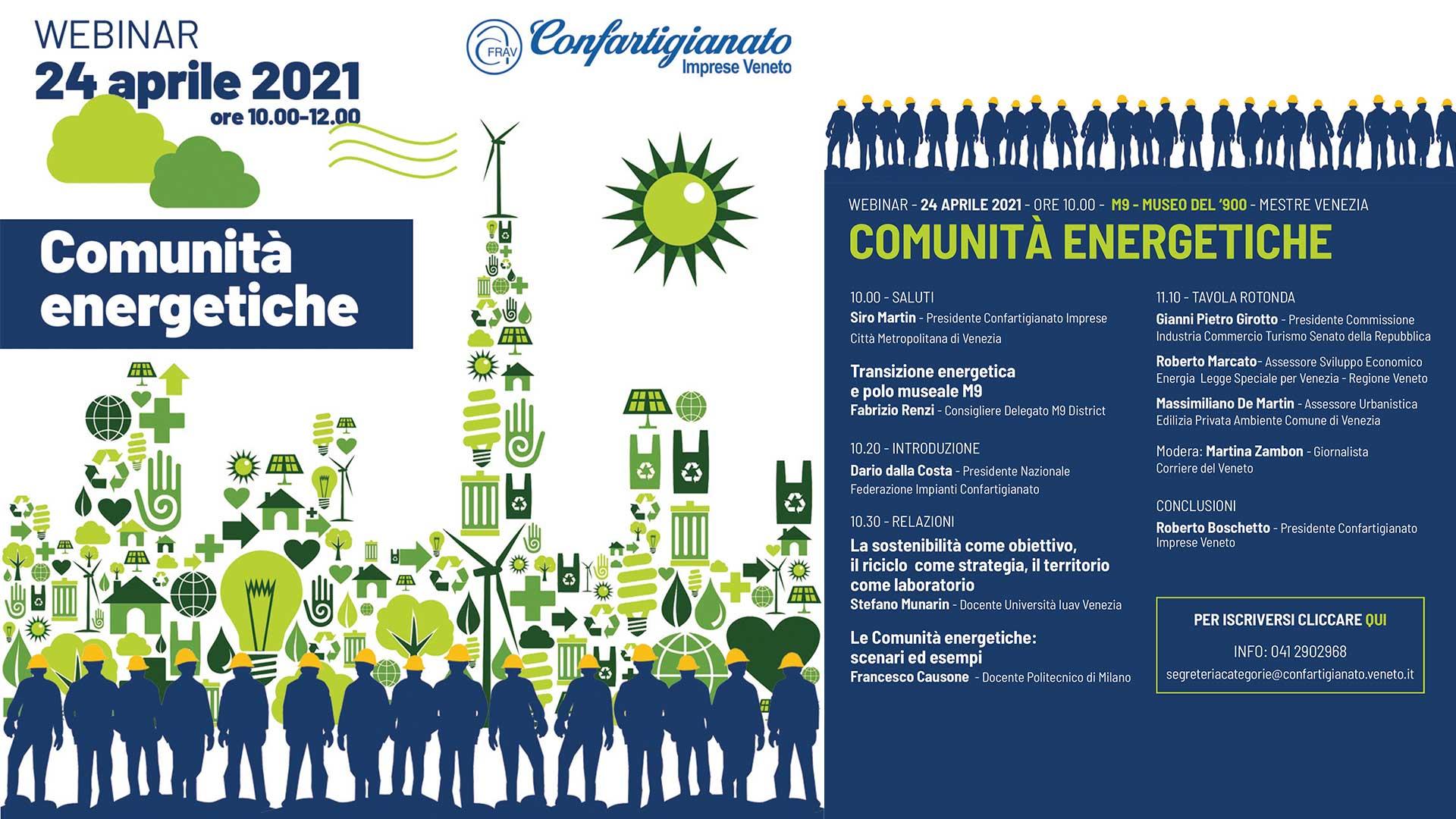 APPUNTAMENTO – Comunità energetiche: transizione verso modi di produzione e consumo più sostenibili. Webinar il 24 aprile, in diretta Facebook