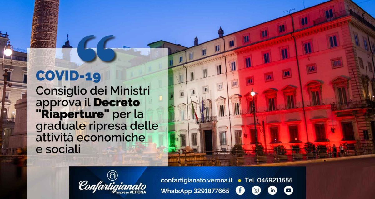 """COVID-19 – Consiglio dei Ministri approva il Decreto """"Riaperture"""" per la graduale ripresa delle attività economiche e sociali"""