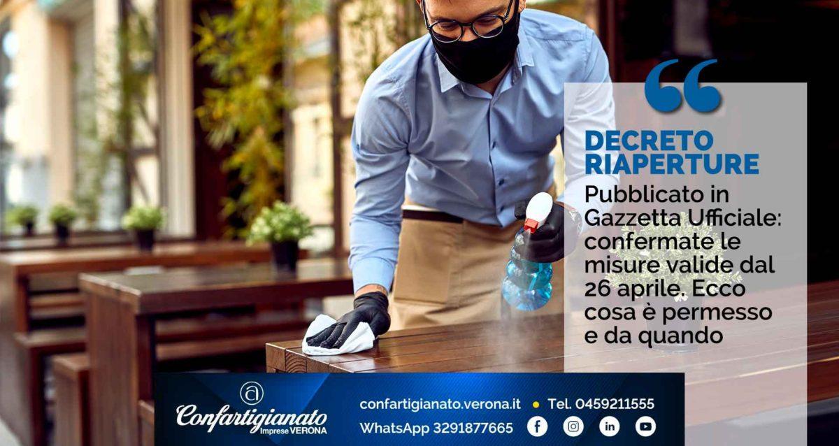 DECRETO RIAPERTURE – Pubblicato in Gazzetta Ufficiale: confermate le misure valide dal 26 aprile. Ecco cosa è permesso e da quando