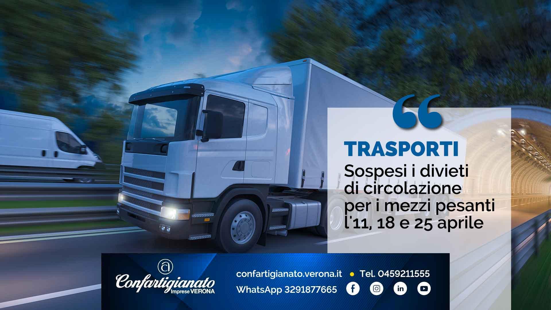 TRASPORTI – Sospesi i divieti di circolazione per i mezzi pesanti l'11, 18 e 25 aprile