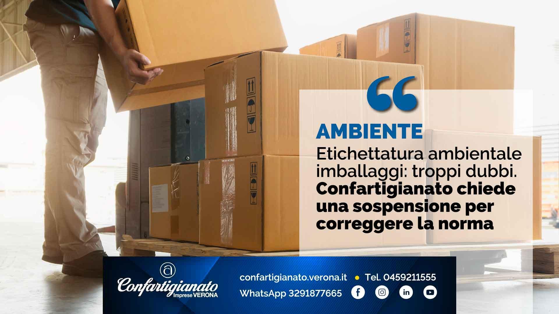 AMBIENTE – Etichettatura ambientale imballaggi: troppi dubbi. Confartigianato chiede sospensione per correggere adempimento