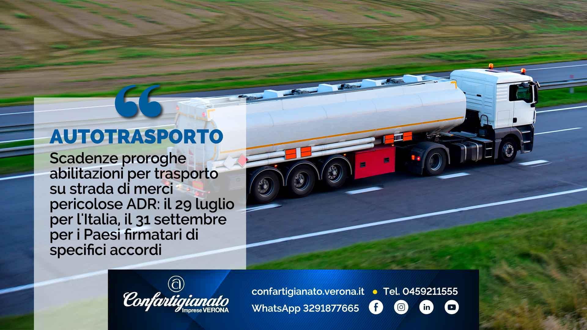 AUTOTRASPORTO – Scadenze proroghe abilitazioni per trasporto su strada di merci pericolose ADR: il 29 luglio per l'Italia, il 31 settembre per i Paesi firmatari di specifici accordi