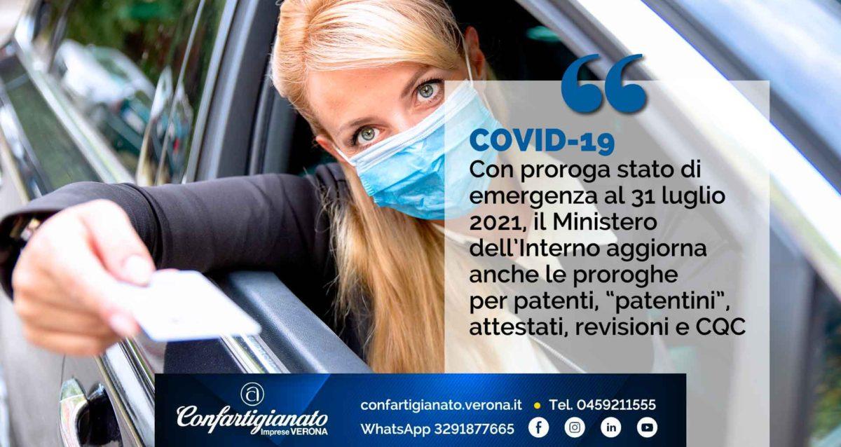 """COVID-19 – Con proroga stato di emergenza al 31 luglio 2021, Ministero dell'Interno aggiorna anche proroghe per patenti, """"patentini"""", attestati, CQC e revisioni"""
