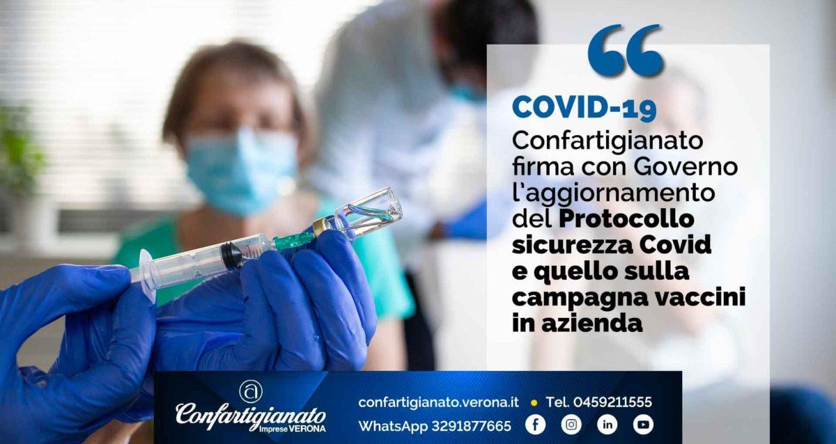 COVID 19 – Confartigianato firma con Governo l'aggiornamento del Protocollo sicurezza Covid e quello sulla campagna vaccini in azienda
