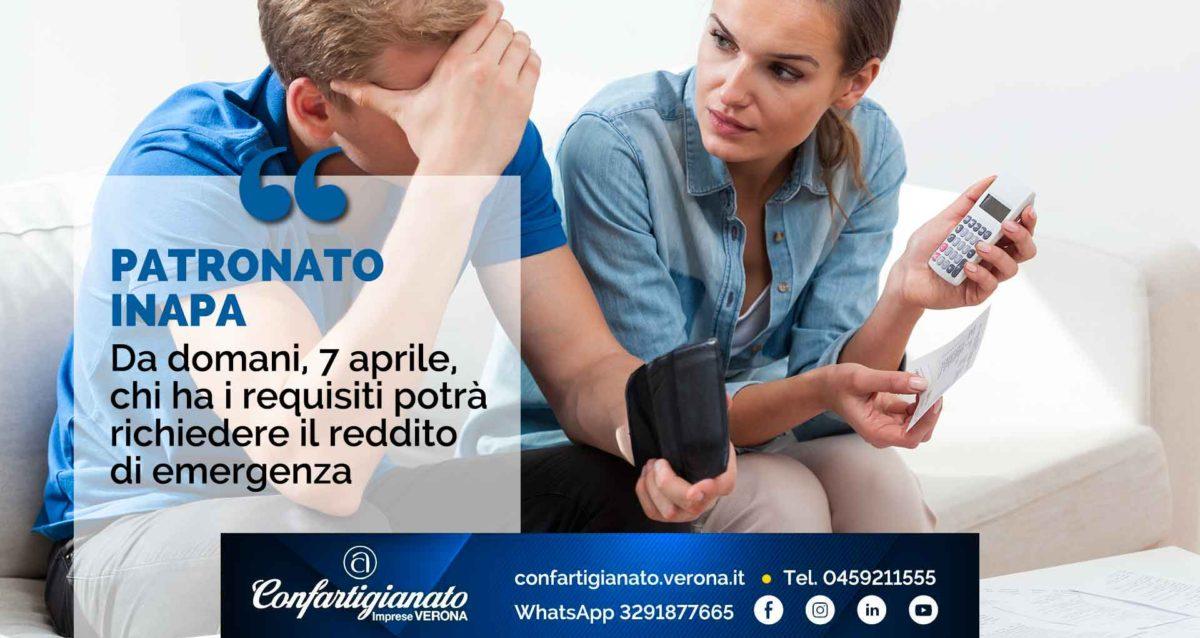PATRONATO INAPA – Da domani, 7 aprile, chi ha i requisiti potrà richiedere il reddito di emergenza