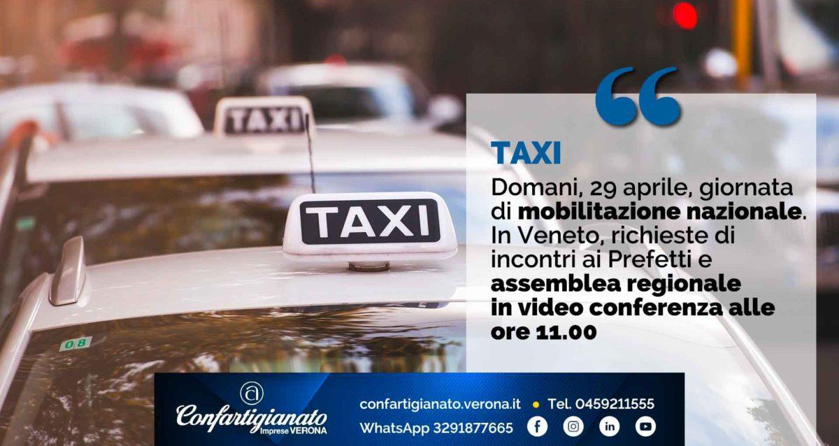 TAXI – Domani, 29 aprile, giornata di mobilitazione nazionale. In Veneto, richieste di incontri ai Prefetti e assemblea regionale in video conferenza alle ore 11