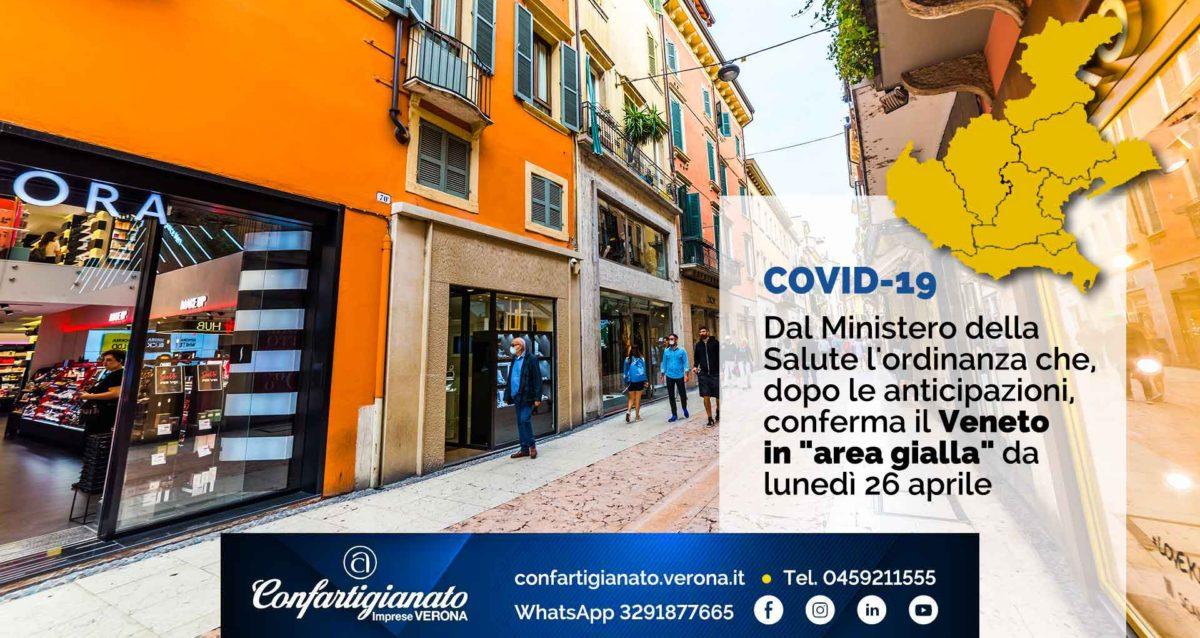 """COVID-19 – Dal Ministero della Salute l'ordinanza che conferma il Veneto in """"area gialla"""" da lunedì 26 aprile"""