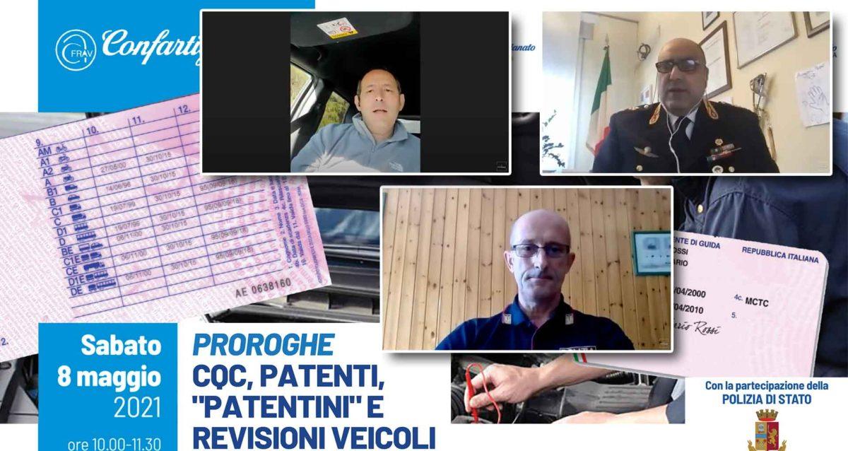 """TRASPORTI – Secondo webinar su proroghe CQC, patenti, """"patentini"""" e revisioni veicoli, in collaborazione con Polstrada Veneto. Se sei Associato richiedi il video"""