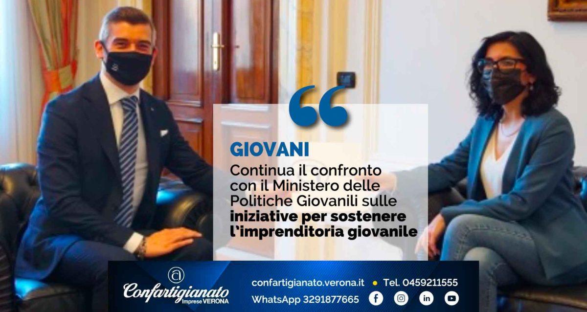 GIOVANI – Continua il confronto con il Ministero delle Politiche Giovanili sulle iniziative per sostenere l'imprenditoria giovanile