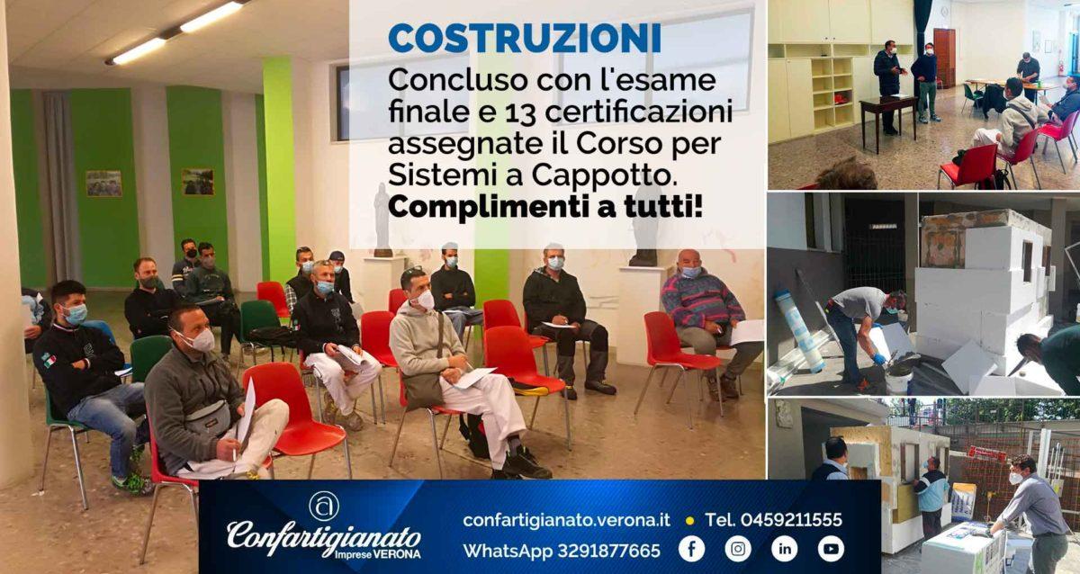 COSTRUZIONI – Concluso con l'esame finale e 13 certificazioni assegnate il Corso per Sistemi a Cappotto. Complimenti a tutti!