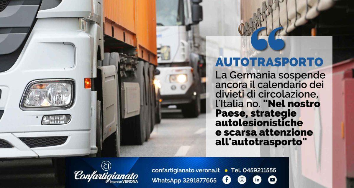 """AUTOTRASPORTO – La Germania sospende ancora i divieti di circolazione, l'Italia no. """"Nel nostro Paese, strategie autolesionistiche e scarsa attenzione all'autotrasporto"""""""
