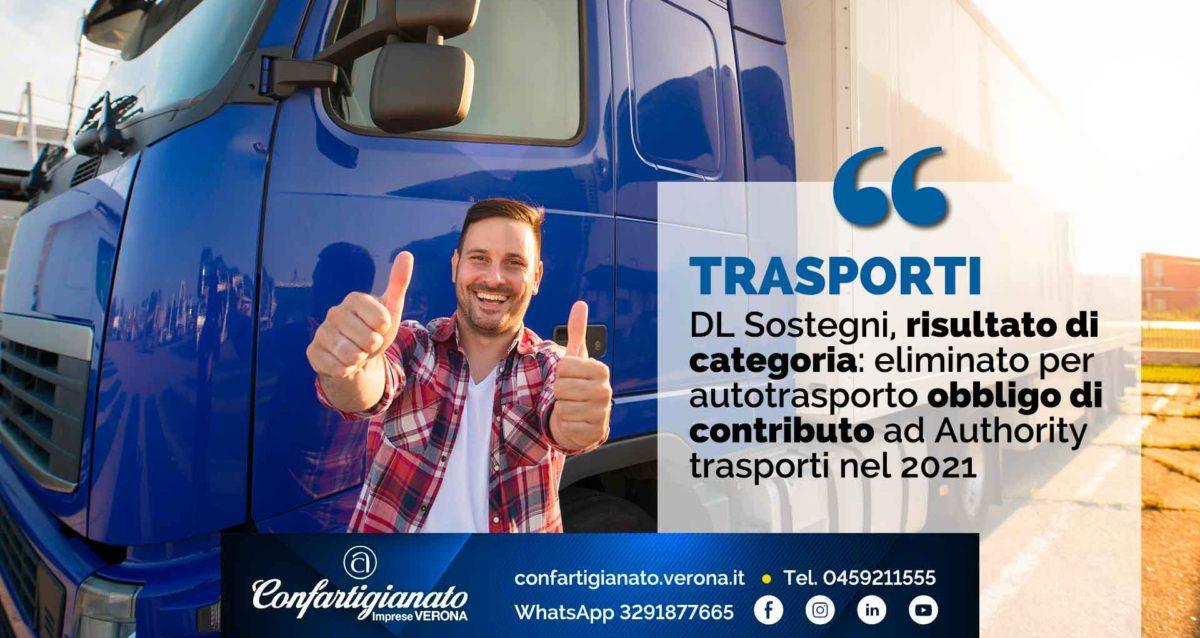 TRASPORTI – Decreto Sostegni, risultato di categoria: eliminato per autotrasporto obbligo di contributo ad Authority trasporti nel 2021