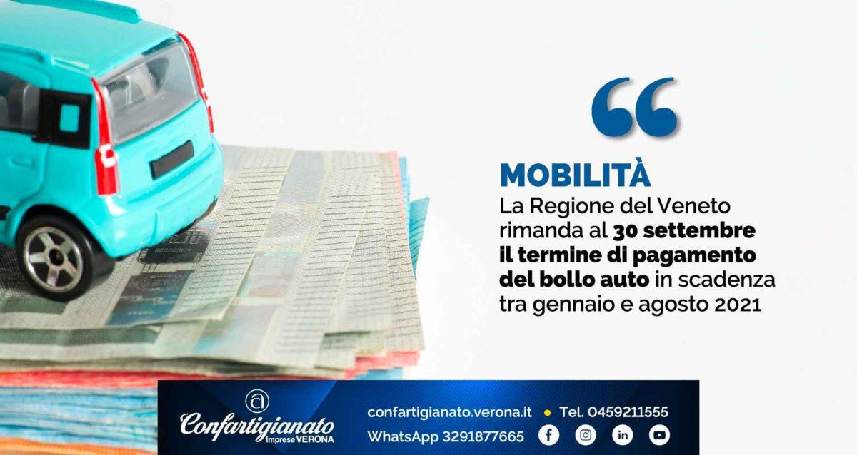 MOBILITA' – La Regione del Veneto rimanda al 30 settembre il termine di pagamento del bollo auto in scadenza tra gennaio e agosto 2021