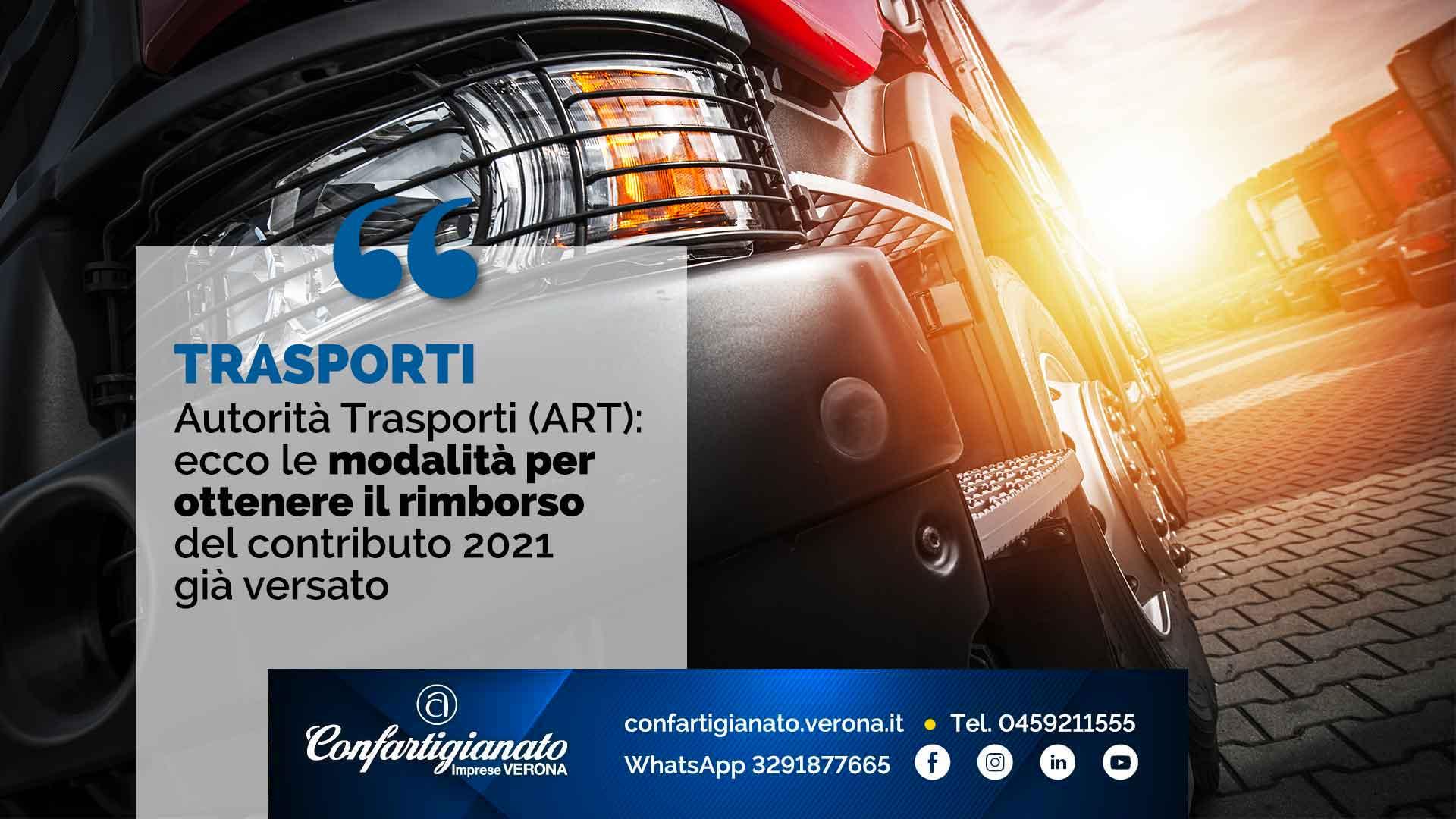 TRASPORTI – Autorità Trasporti: ecco le modalità per ottenere il rimborso del contributo 2021 già versato