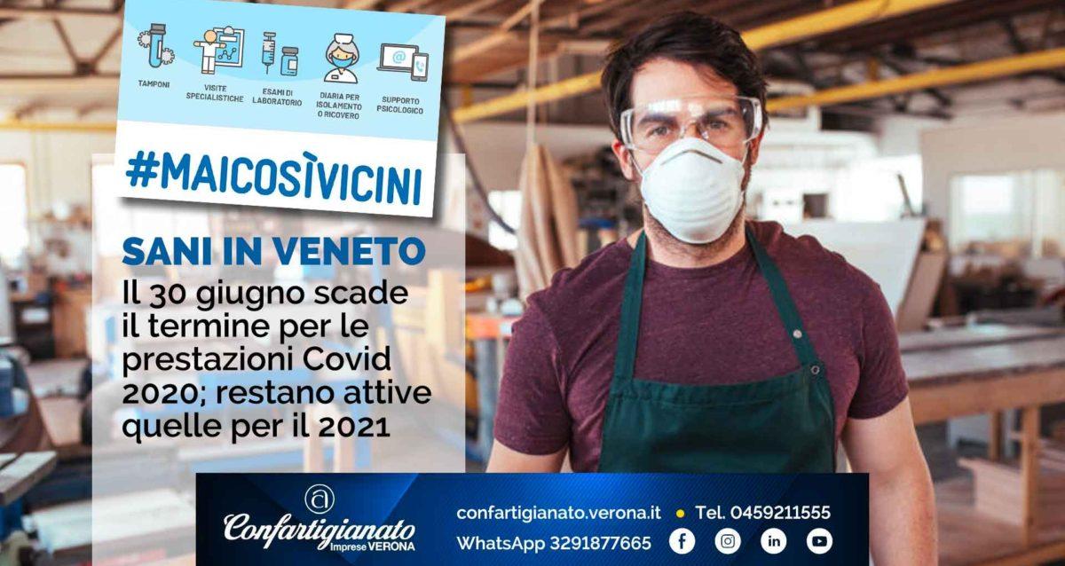 SANI IN VENETO – Il 30 giugno scade il termine per le prestazioni Covid 2020; restano attive quelle per il 2021