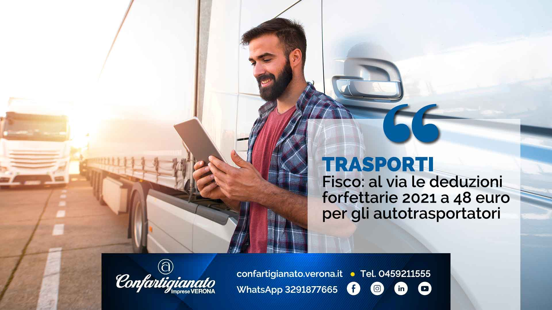 TRASPORTI – Fisco: al via le deduzioni forfettarie 2021 a 48 euro per gli autotrasportatori