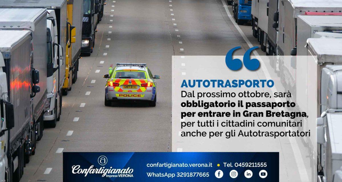 AUTOTRASPORTO – Dal prossimo ottobre, obbligatorio il passaporto per entrare in Gran Bretagna, anche per gli Autotrasportatori