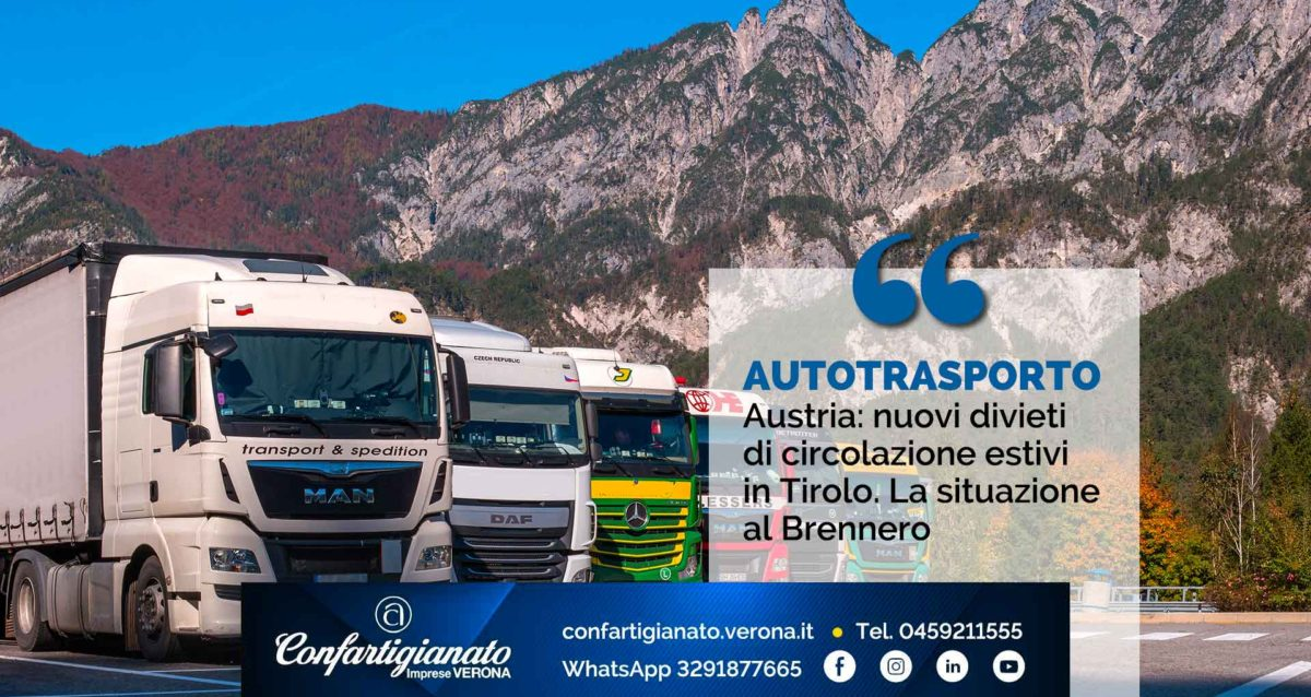 AUSTRIA - Divieti di circolazione estivi in Tirolo. La situazione al Brennero
