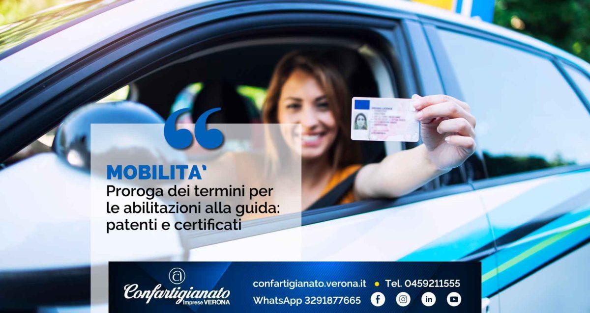 MOBILITA' – Proroga dei termini per le abilitazioni alla guida: patenti e certificati