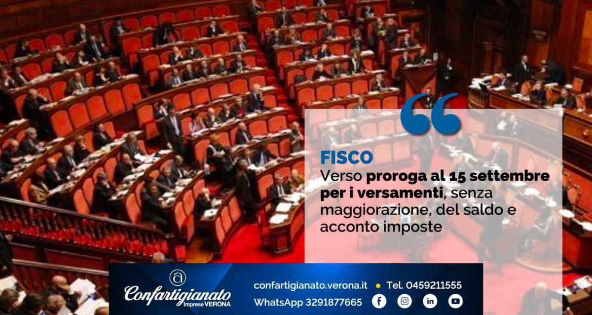 FISCO – Verso la proroga al 15 settembre per i versamenti, senza maggiorazione, del saldo e acconto imposte