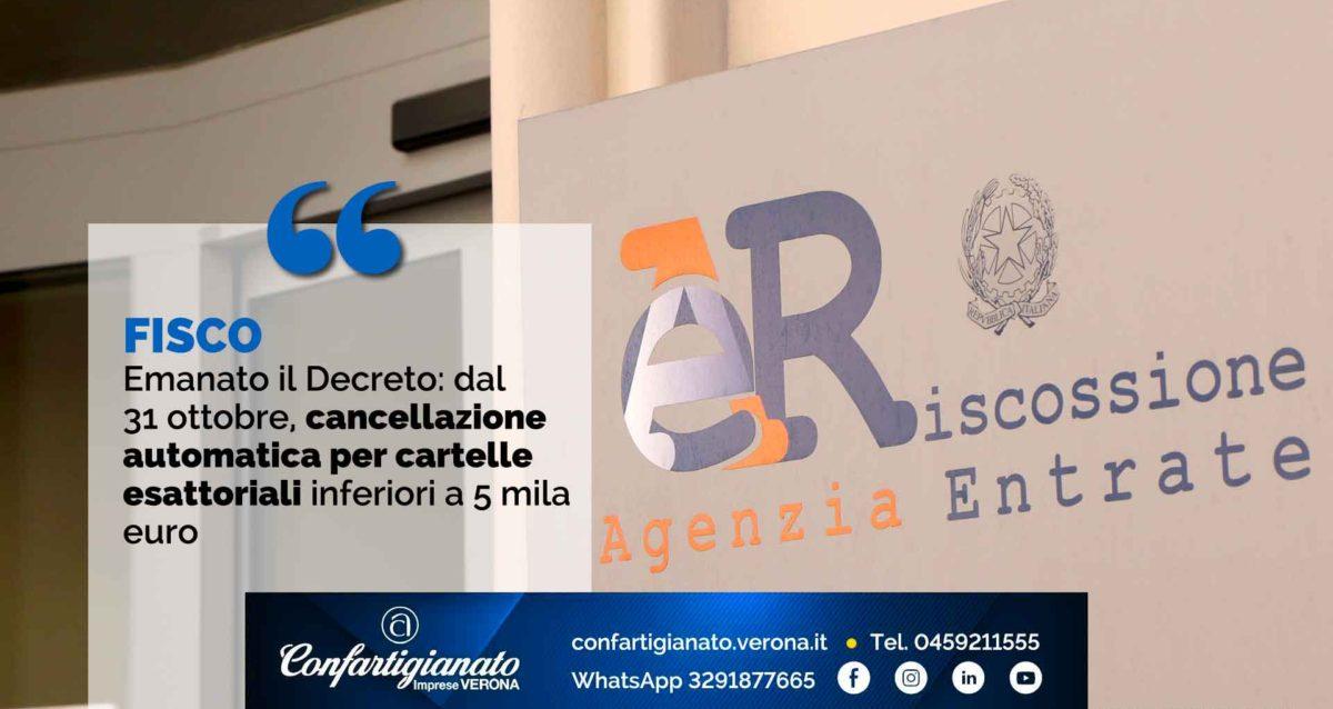 FISCO – Emanato il Decreto: dal 31 ottobre, cancellazione automatica per le cartelle esattoriali inferiori a 5 mila euro