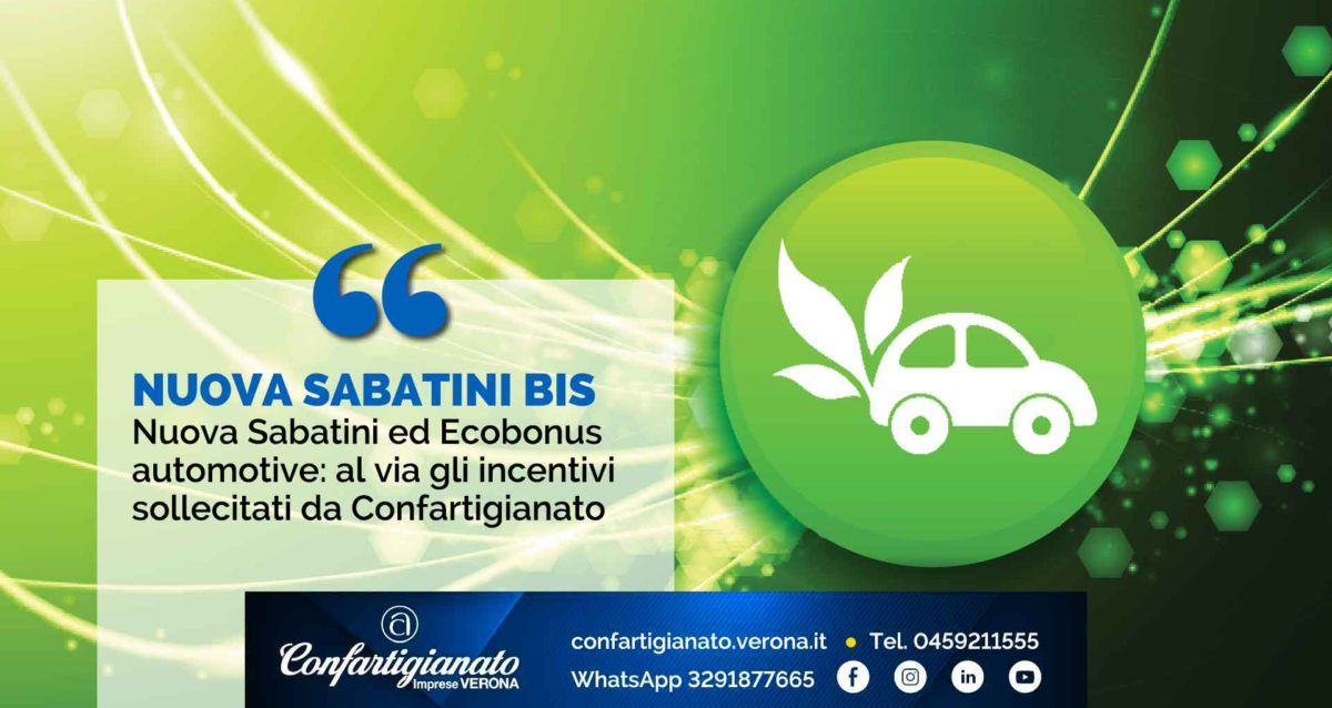 DL SOSTEGNI BIS – Nuova Sabatini ed Ecobonus automotive: al via gli incentivi sollecitati da Confartigianato